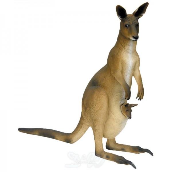 Känguru mit Jungtier im Beutel (lebensgroß)