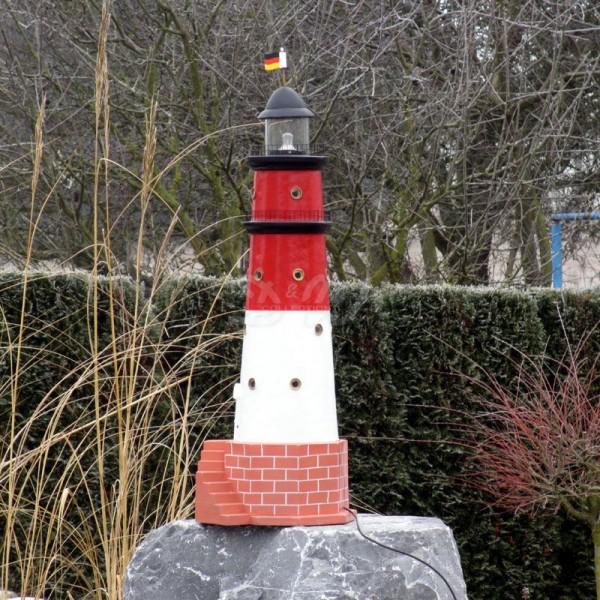 """Leuchtturm """"Büsum"""" 120 cm Sylt rot-weiß - Fuß: 40 cm"""
