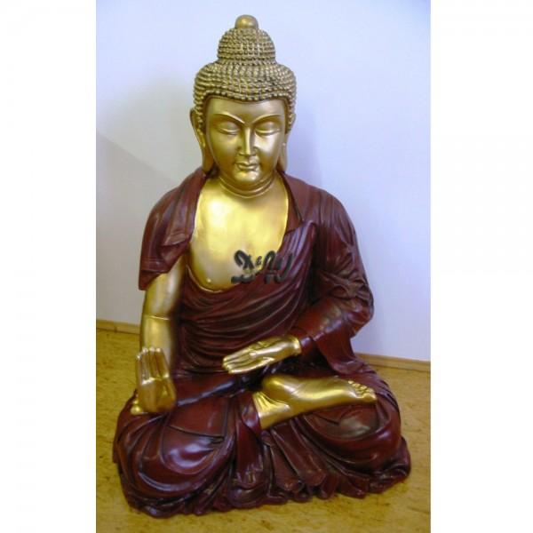 Buddha Gartenbuddha sitzend braun / gold (groß)