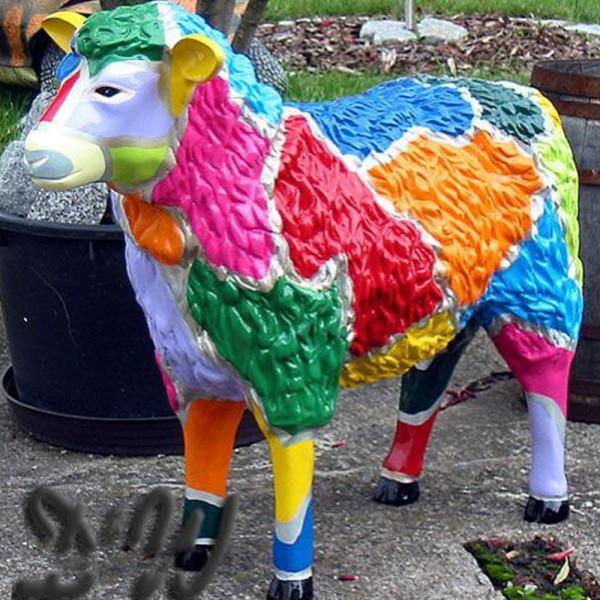"""Schaf mit Kunstbemalung """"Mosaik"""" strukturiert (groß)"""