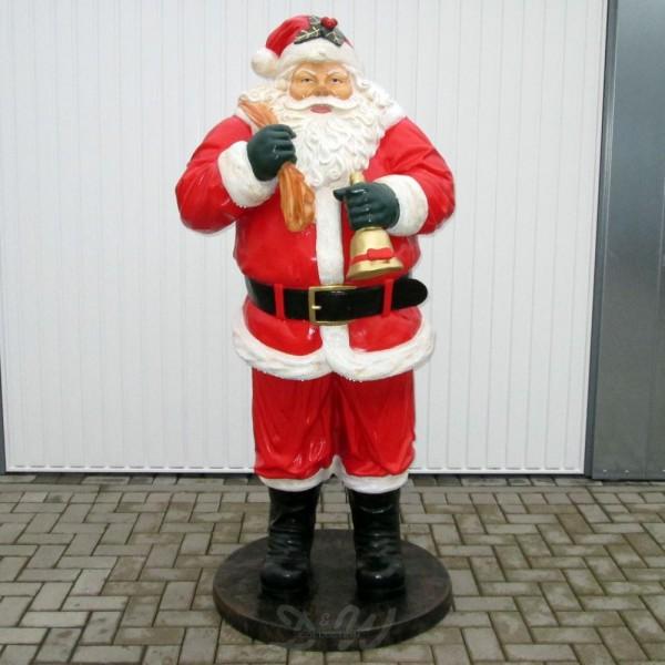 Weihnachtsmann stehend mit Geschenkesack und Glocke (lebensgroß)