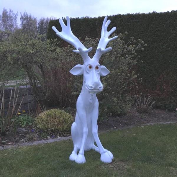 D&W Collection Weihnachts Deko Elch Rudi weiß Garten Advent Dekoration günstig kaufen