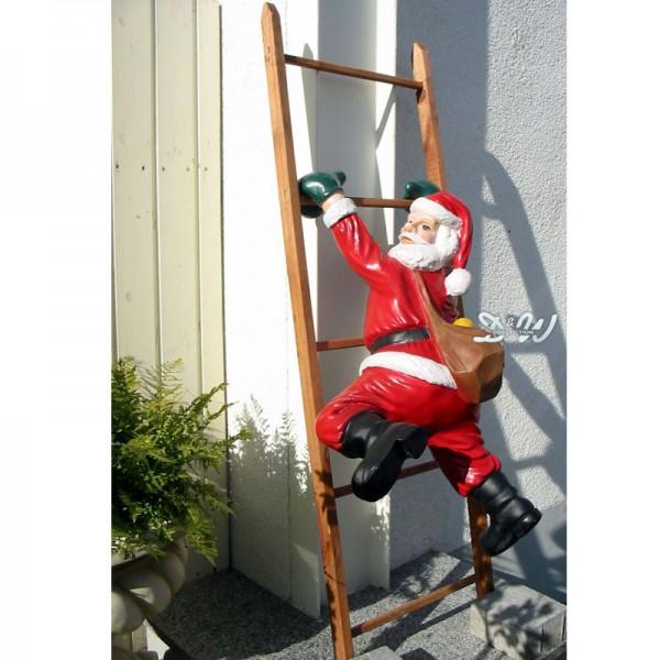 Weihnachtsmann / Nikolaus hängend mit Leiter (groß)