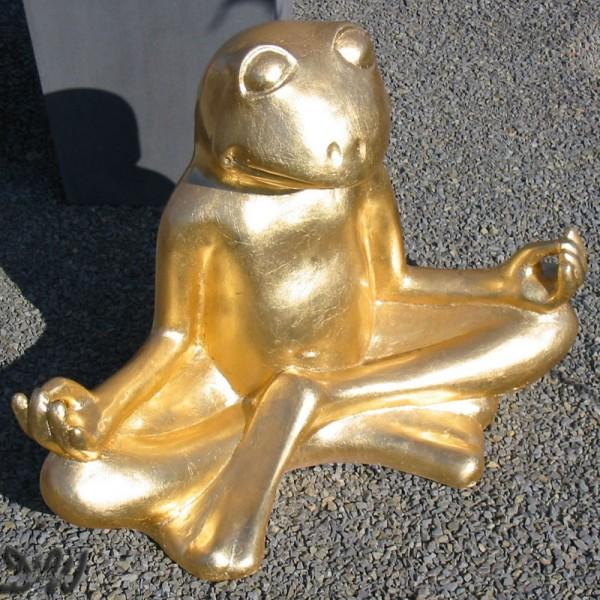 Yoga Frosch im Lotussitz Blattgold