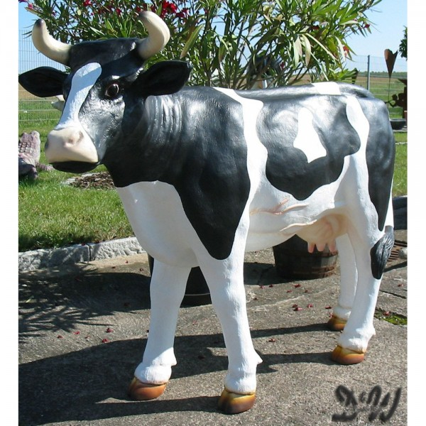 """Kuh Franzi """"Kopf zur Seite"""" schwarz-weiß (groß)"""