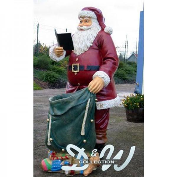 Weihnachtsmann stehend mit Buch und Geschenkesack (lebensgroß)