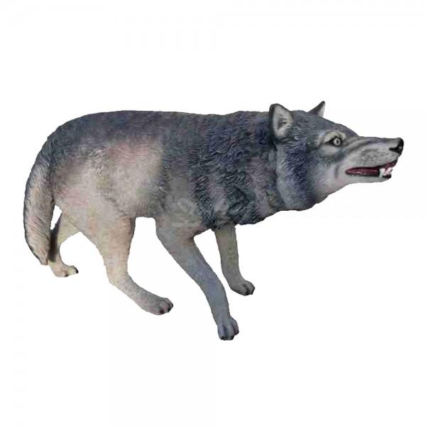 Wolf stehend in Angriffshaltung (lebensgroß)