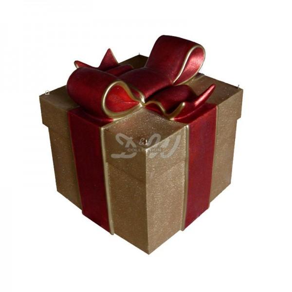 Geschenk Box / Schachtel gold mit roter Schleife (eckig)