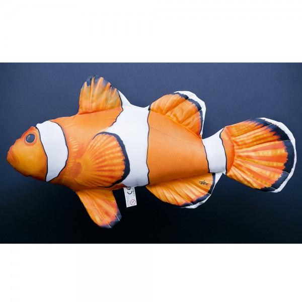 D&W Collection Deko Werbe Figur Fischkissen Clownfisch Nemo Kuschelkissen Geschenk Angler Kinder Angel Sport