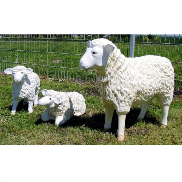 Schaffamilie weiß strukturiert Patina 3 Schafe groß & klein