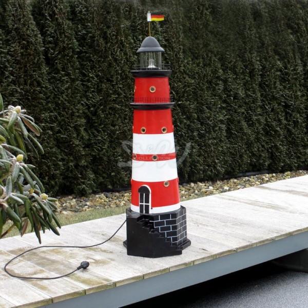 """Leuchtturm """"Amrum"""" 120 cm Sylt rot-weiß - Fuß: 40 cm"""