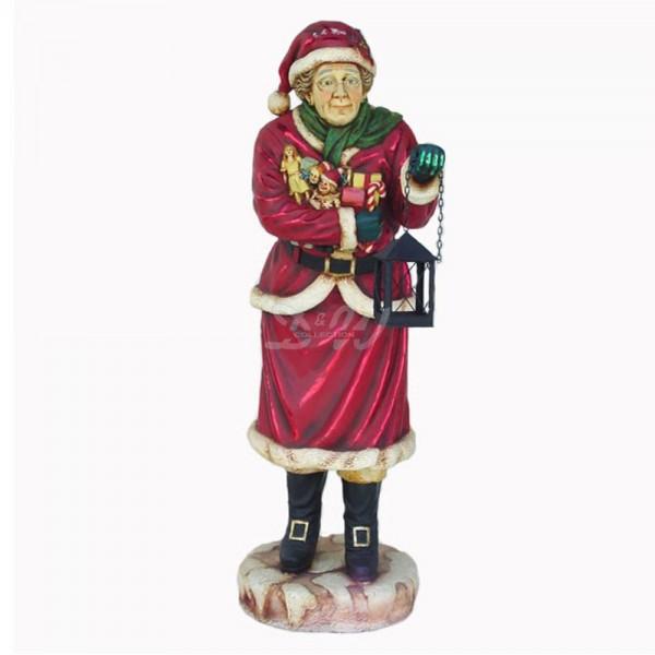D&W Collection Deko Werbe Figur Weihnachtsfrau mit Laterne Miss Santa Advent Weihnachts Dekoration Garten Werbung günstig kaufen
