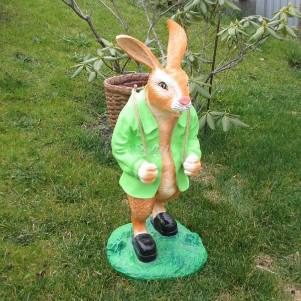 Osterhase mit Korb auf Rücken - Jacke grün (groß) Hase