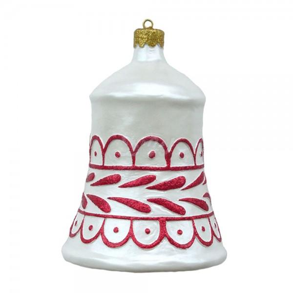 Weihnachtsbaum-Glocke 57 cm Durchmesser weiß/rot zum Aufhängen