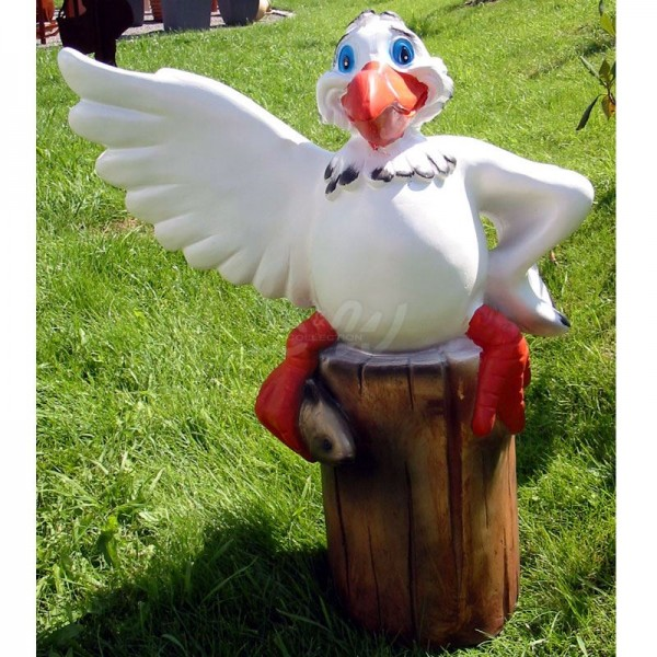lustiger Vogel (Pelikan / Möwe) auf Poller (groß)