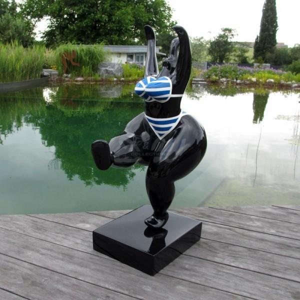 Nana Art Figur mit Kunstbemalung (klein) Bikini blau-weiß