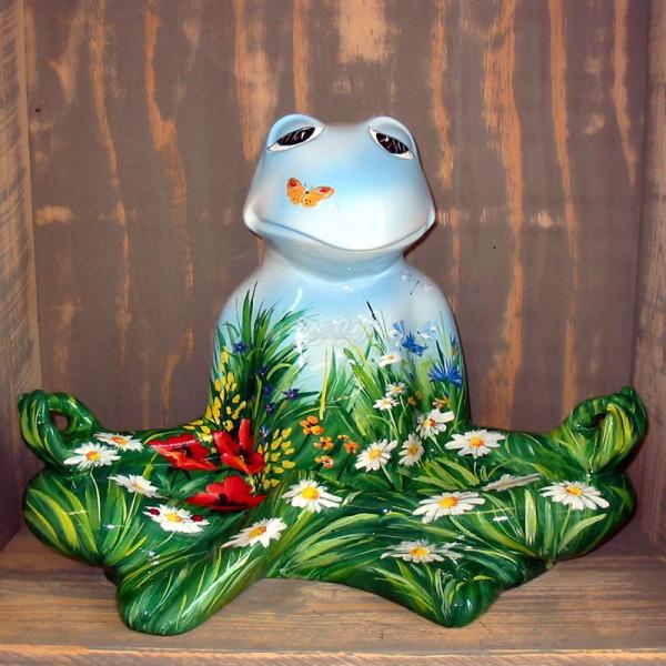 """Yoga Frosch im Lotussitz mit Kunstbemalung """"Sommerwiese"""""""