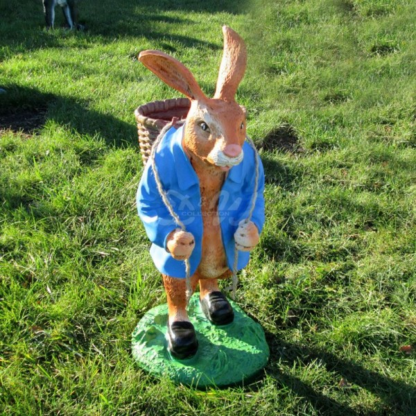 Osterhase mit Korb auf Rücken - Jacke blau (groß) Hase
