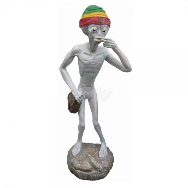 Alien stehend rauchend mit Mütze 132 cm (groß)