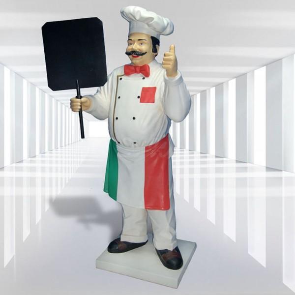 Koch mit Tafel 190 cm (lebensgroß) Jacke & Hose weiß - italienische Flagge