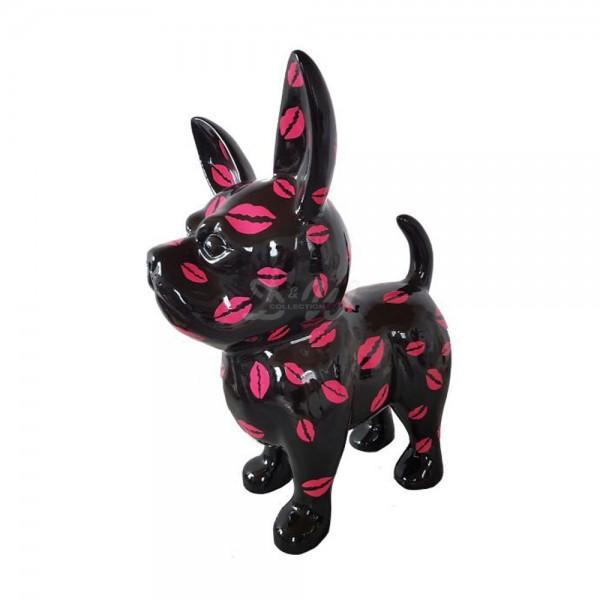 D&W Collection Deko Werbe Figur Hund Chihuahua rote Lippen Kuss Mund groß Dog Garten Dekoration Werbung Kunst günstig kaufen