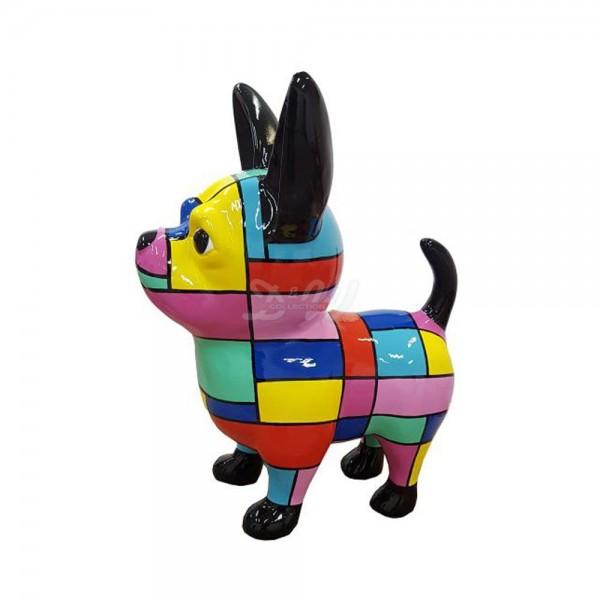 D&W Collection Deko Werbe Figur Hund Chihuahua bunte Vierecke groß Dog Garten Dekoration Werbung Kunst günstig kaufen
