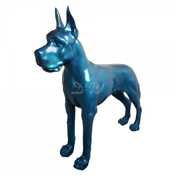 Deutsche Dogge Hund stehend blau Metallic (lebensgroß)