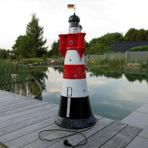 "Leuchtturm ""Roter Sand"" 120 cm rot-weiß - Fuß: 44 cm"
