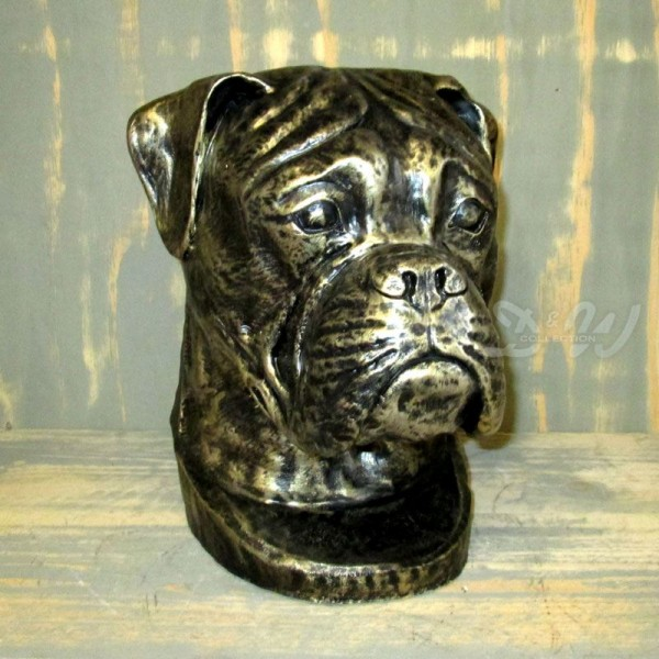 Boxer Hundekopf Büste bronze Patina (lebensgroß)