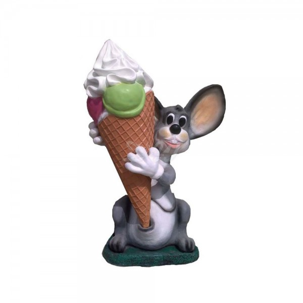 D&W Collection Deko Werbe Figur Maus Kugeleis mit Sahne Eiscafè Eisdiele Eishörnchen Eis Dekoration Werbung