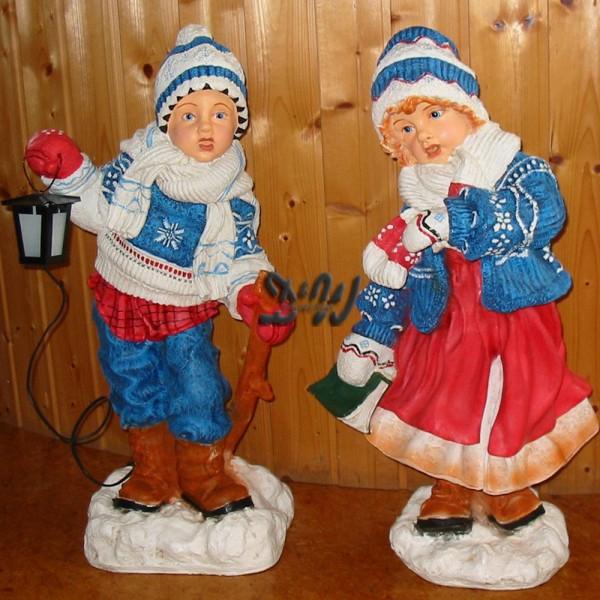 Winterkinder 2er Set Mädchen mit Buch & Junge mit Laterne