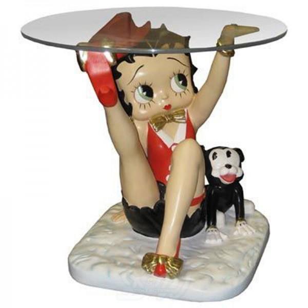 Betty Boop sitzend mit Hund als Tisch (klein)