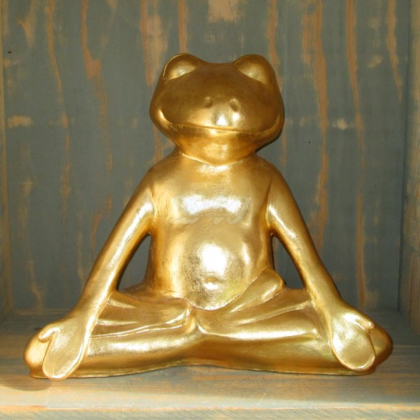 D&W Collection Deko Werbe Tier Figur Yoga Frosch Blattgold Meditation Feng Shui Garten Dekoration günstig kaufen