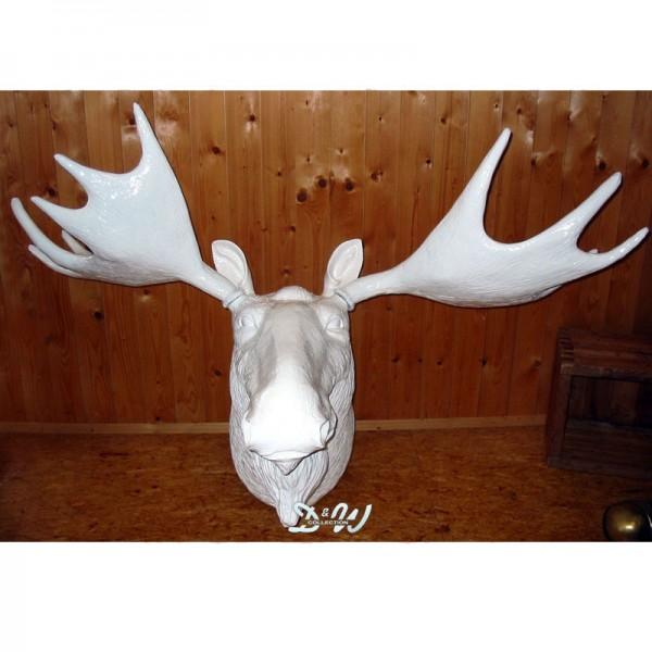 Elch-Kopf 3-teilig weiß hochglänzend (lebensgroß)