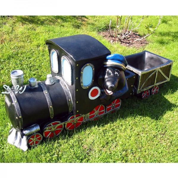Maulwurf in Lokomotive / Eisenbahn mit Waggon zum Bepflanzen