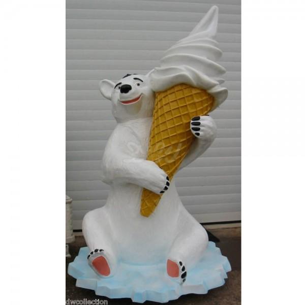 Eisbär mit Eiswaffel auf Rollen (Eistüte mit Softeis) 155 cm