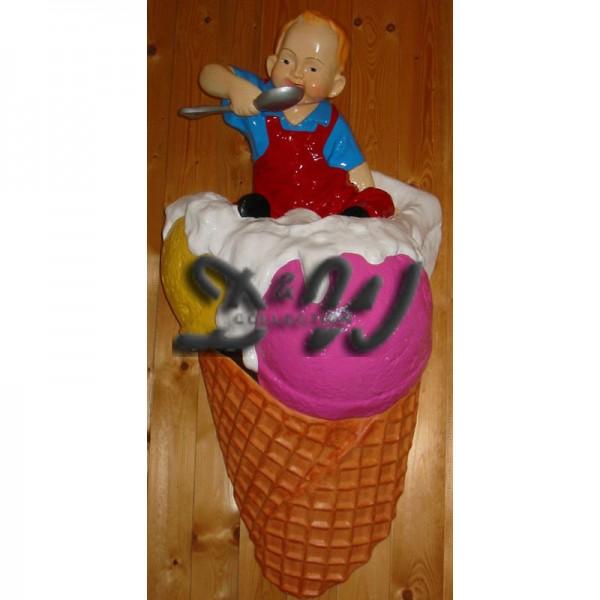 Eiswaffel Eistüte Kind auf Kugeleis 3 Kugeln mit Sahne 120 cm als Wanddekoration