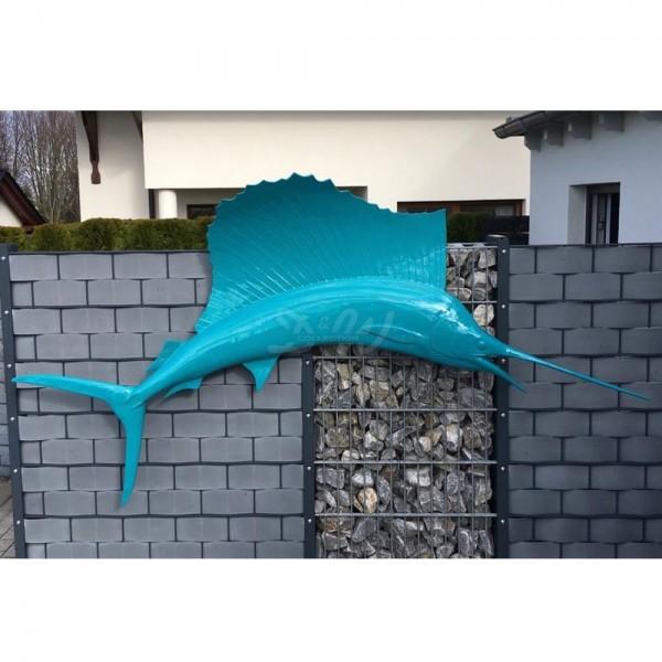 D&W Collection Deko Werbe Tier Figur Schwertfisch Segelfisch türkis Lack Meer maritim Werbung Garten Dekoration günstig kaufen