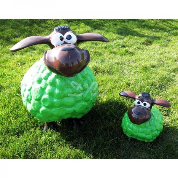 Wölkchen Schafe 2er Set grün mit braunem Kopf