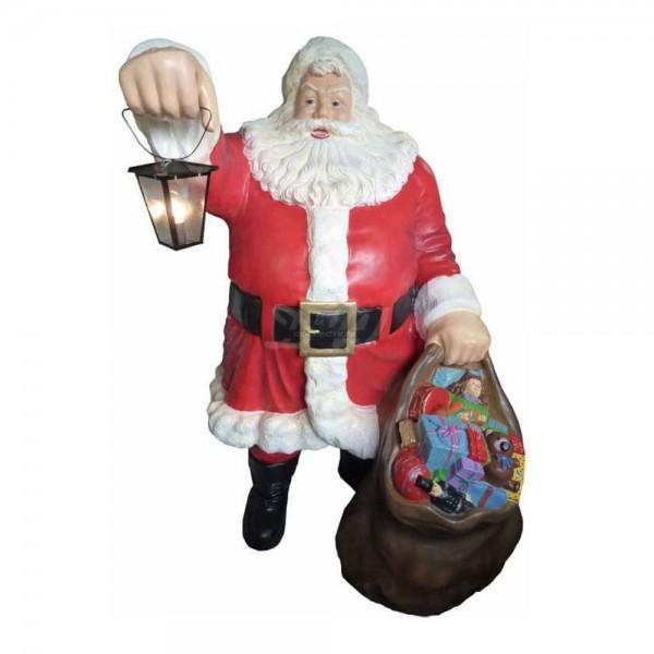 Weihnachtsmann stehend mit Laterne und Geschenkesack (lebensgroß)