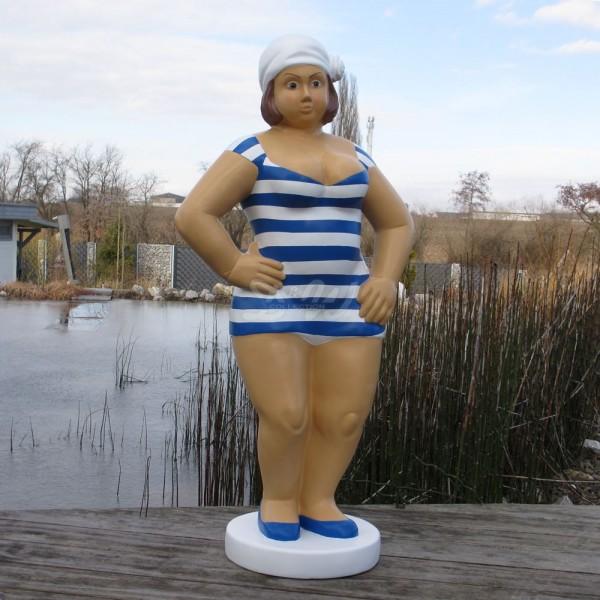 """Badende Schwimmerin """"Anni"""" stehend Badeanzug in gestreift / weiß-blaue Streifen Marine"""