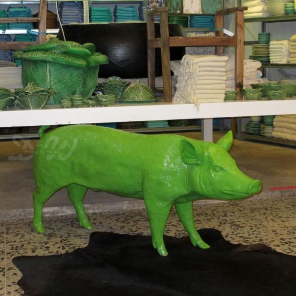 Schwein - Hausschwein (lebensgroß) grün Lack