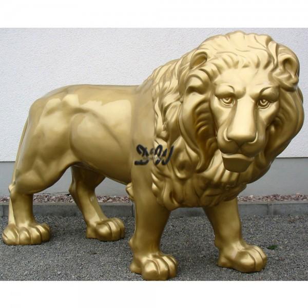 Löwe München stehend goldfarben (lebensgroß)