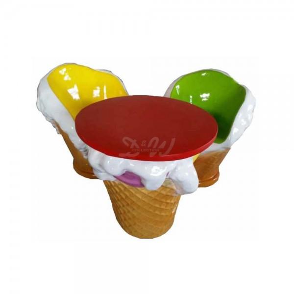 D&W Collection Deko Werbe Figur Möbel Set Kugeleis Eishocker und Tisch Eiscafè Eisdiele Eishörnchen Eis Dekoration Werbung