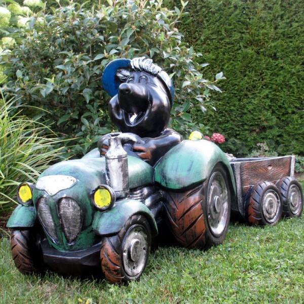 Maulwurf in Traktor mit Hänger zum Bepflanzen (klein)