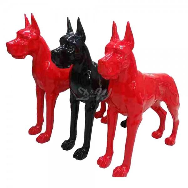 Deutsche Dogge Hund stehend schwarz (lebensgroß)