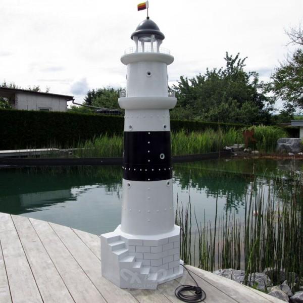 """Leuchtturm """"Kampen"""" 170 cm Sylt schwarz-weiß - Fuß: 50 cm"""