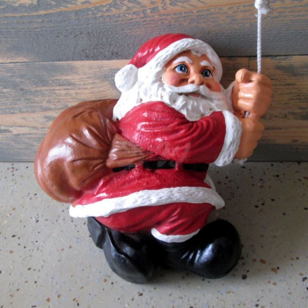 Weihnachtsmann / Nikolaus am Seil kletternd (klein)