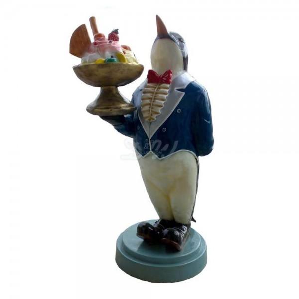 D&W Collection Deko Werbe Figur Pinguin mit Eisbecher Eiscafè Eisdiele Eishörnchen Eis Dekoration Werbung