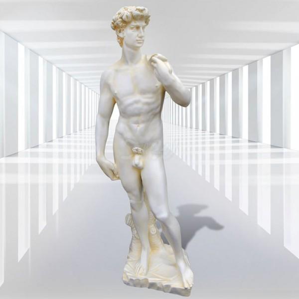 Statue - Mann David nackt auf Sockel (groß)
